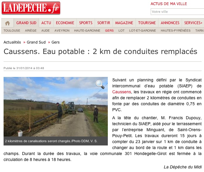 Article Dépêche SIAEP Caussens 31012014